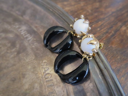 vintage pierced earrings 2way <PE-CLBK>