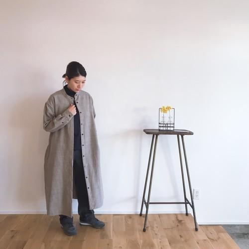 niuhans  Shetland Wool Linen Stand Collar Shirt One-Piece
