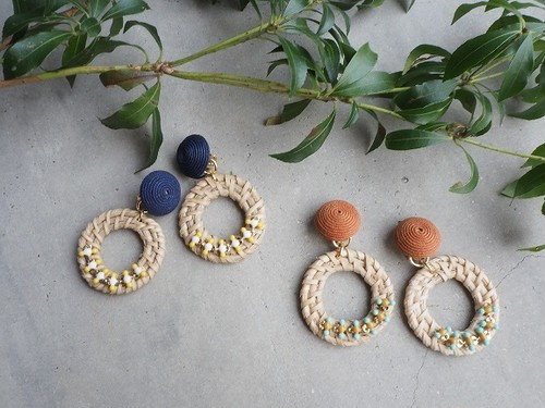 rattan ring color pierce/earring