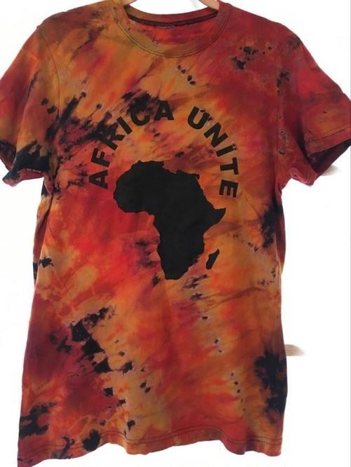 ガーナの手染めTシャツ【S】 AFRICA UNITE-⑧