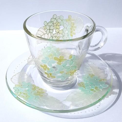 【母の日ギフト】紫陽花あじさい耐熱ガラスのコーヒーカップ・ティーカップ|父の日ギフト・結婚祝い・還暦祝い・退職祝い・誕生日プレゼント・両親贈呈品・新居祝い・結婚記念日