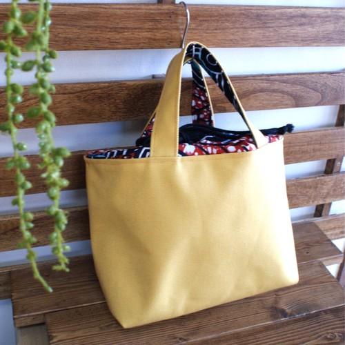 巾着トートバッグ『African×canvas』mustard