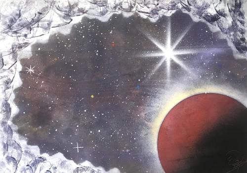 『隕石から宇宙を覗くと…』宇宙空間を漂う隕石視点。
