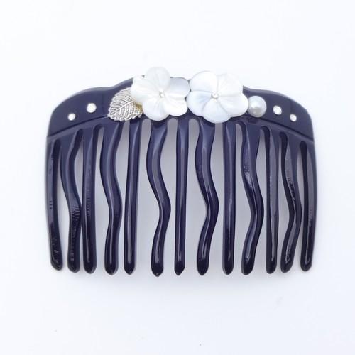 ヘアコーム 白蝶貝 ラインストーン ホワイト フラワー ブラック 149394