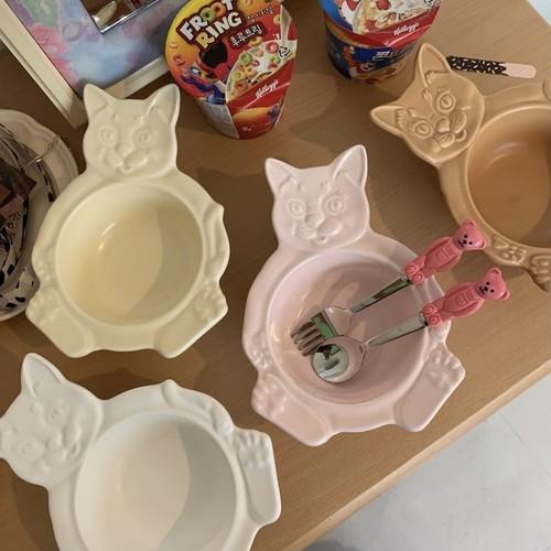 【made in korea♡】cat bowl 4colors / キャット ボウル 皿 プレート トレー ねこ 韓国雑貨 韓国製