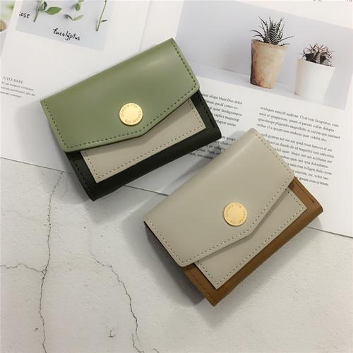 【バッグ】新作配色カード収納三つ折り財布