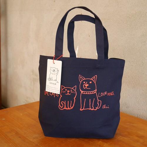 トートバッグ[Love cats, Love dogs.1]Sネイビー×レッド