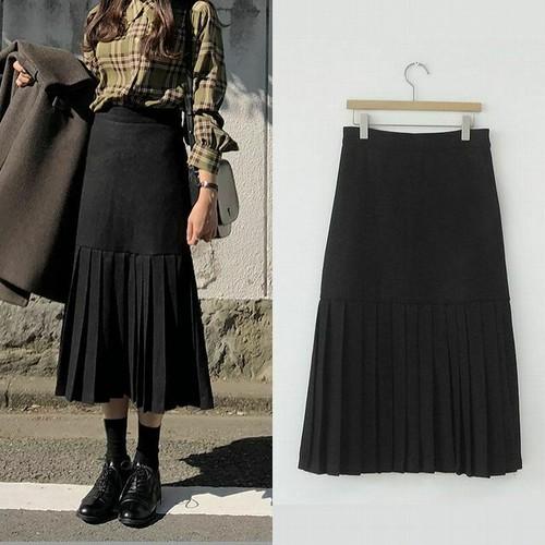 【★送料無料★】裾プリーツ ロングスカート 韓国ファッション スカート ロング丈 ブラック レディース オルチャンファッション