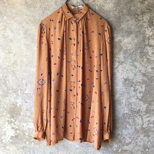 Italy orange&fruits silk blouse
