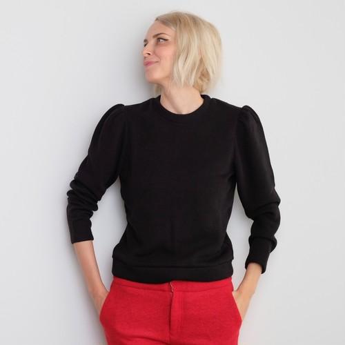 Balloon Sleeve Knit / BLACK