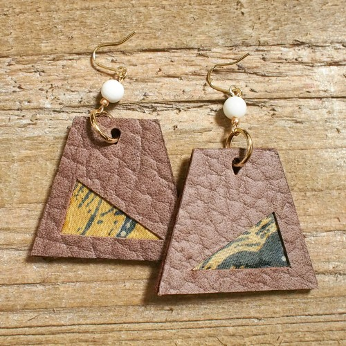 Leather trapezoid Pierce / gray beige