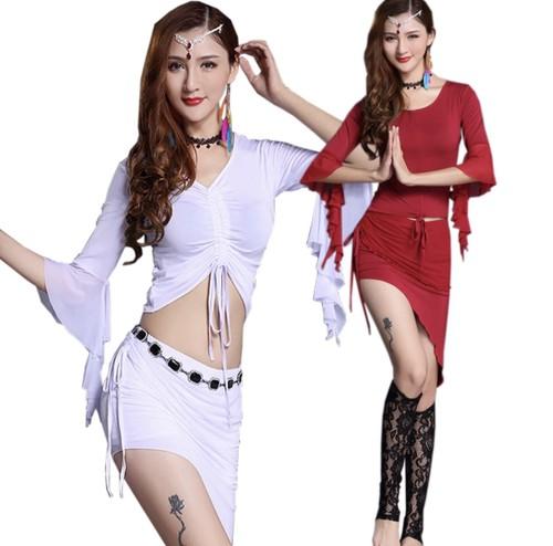 ベリーダンス最新のベリーダンス衣装モーダル快適なベリーダンスセット女性のダンスウェアのベリーダンストップ+スカートの練習服