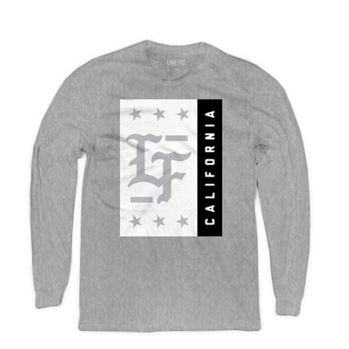 LIVE FIT Stamped Long Sleeve- Heather Grey