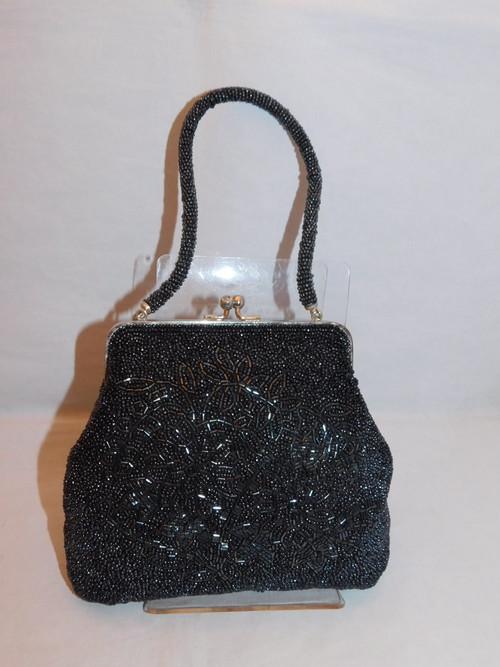 黒グレー色ビーズビィンテージバック black gray  bead vintage bag (made in Japan)