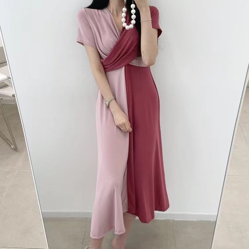 【dress】女子力アップ配色切り替えカシュクールデートワンピース2色