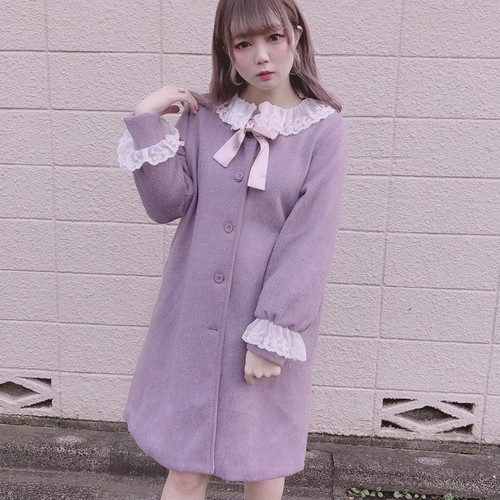 【予約販売】Lace colour lavender coat