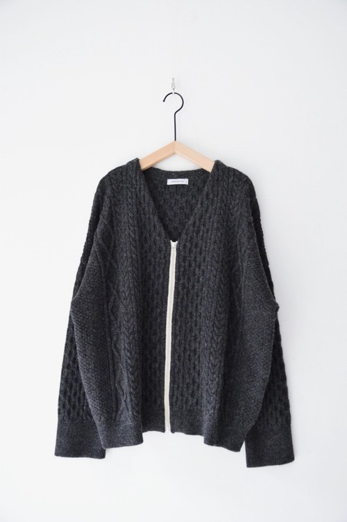 """""""RE STOCK""""【ORDINARY FITS】CABLE KNIT ZIP CARDIGAN/OF-N014"""