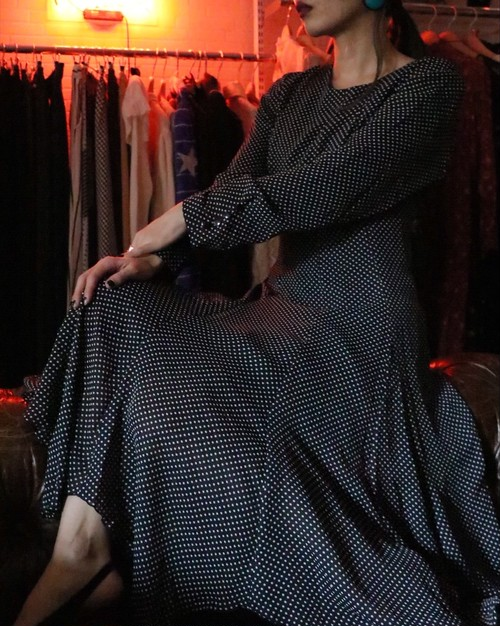 80's dot design dress