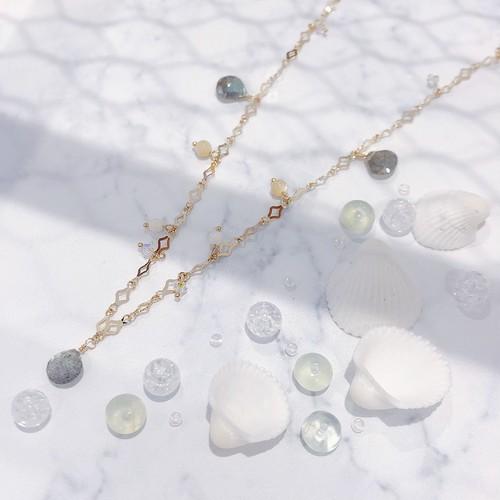 【CORALIA】 PLAGE 003 ネックレス 白珊瑚 ラブラドライト マザーオブパール K10