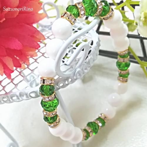 【ブレスレット】天然石デザインブレスレット-ホワイトオニキス(グリーン)-(bracelet-008)