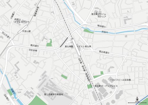 東京 恵比寿・代官山 地図フリー素材A4(eps)