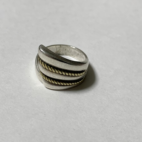 Vintage 925 Silver & Twisted Brass Ring Made In Mexico