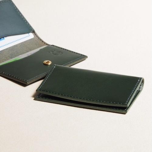 薄く小さい革のパスケース#グリーン