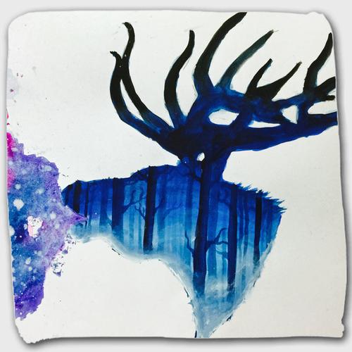 森の中の鹿_ハンドタオル