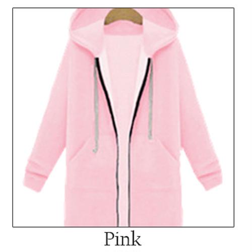 【ゆったりロング丈で安心★】裏起毛 ロングパーカー長袖 ジップアップ ピンク
