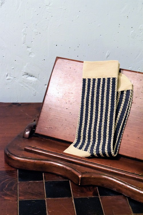 【CORDE STRIPE SOCKS SERIES 】  COLOR <SAND×NAVY>