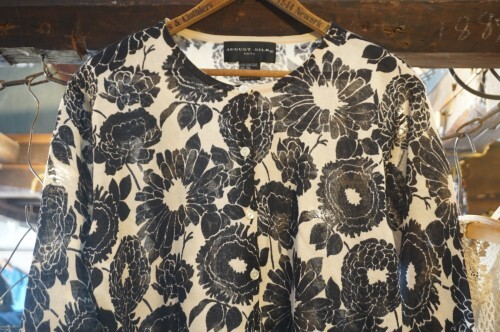 90's flower printed silk knit Cardigan