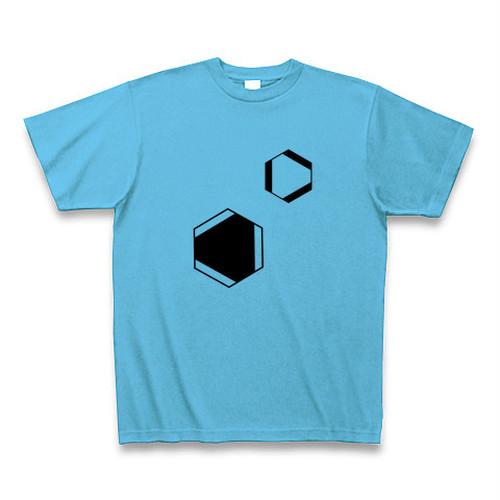 理系Tシャツ【ベンゼン環/2つ/シーブルー】-(Scien-T'st)Benzen/two/seablue