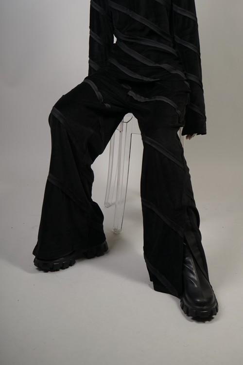 BIAS STITCH VELOURS PANTS (BLACK) 2109-76-HK81
