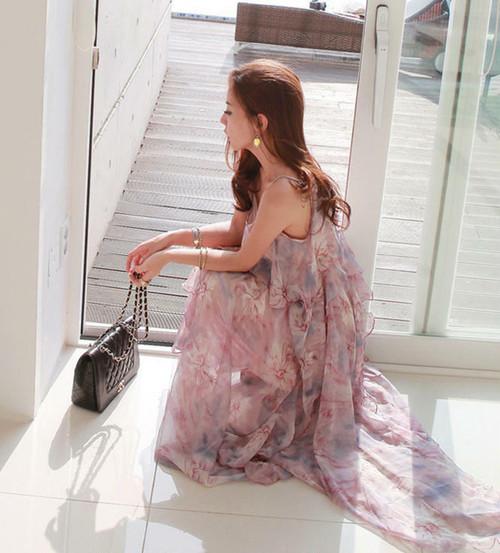 花柄 ワンピース キャミソールワンピース シフォン ロング丈 大きいサイズ ゆったり リゾート 海 大人可愛い フェミニン 韓国 オルチャン ファッション