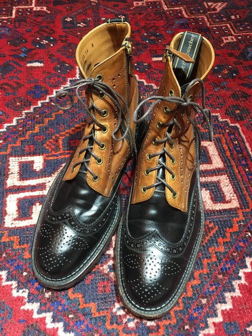 .foot the coacher BICOLOR LEATHER SIDE ZIP WING TIP BOOTS/フットザコーチャーバイカラーレザーサイドジップウィングチップブーツ 2000000032030