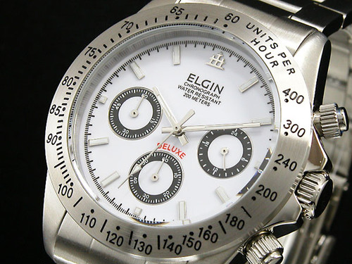 エルジン ELGIN クロノグラフ 腕時計 FK1059S-W ホワイト