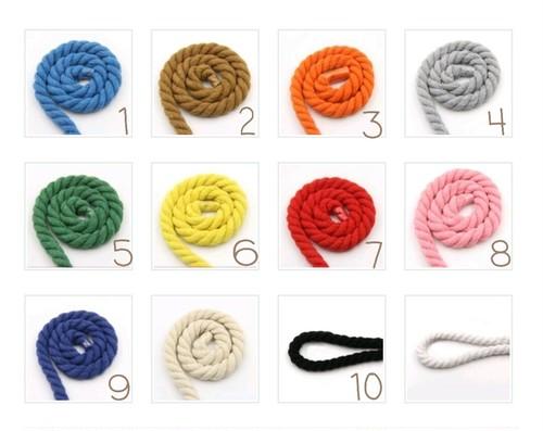 12mm染め コットン ロープ DIY用 1m販売