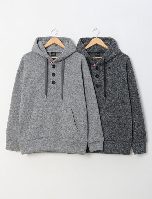 ボカシボタンフード ★UNISEX フーディー フードトレーナー 韓国ファッション