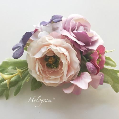 コサージュ&ヘアアクセサリー*ピンクパープル