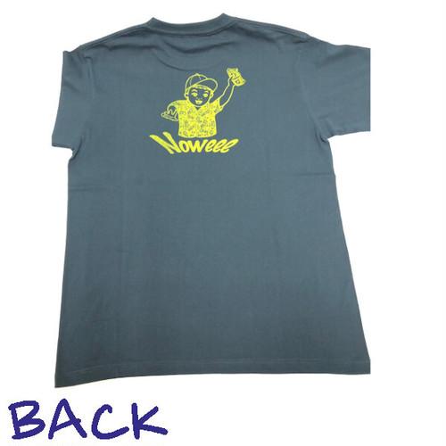 Noweee Tシャツ バックプリント ブルーグリーン メンズ