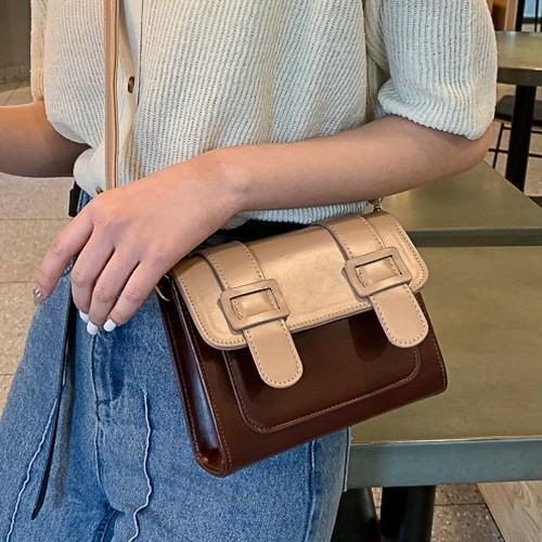 【小物】気質満点配色切り替えファッションPUショルダーバッグ