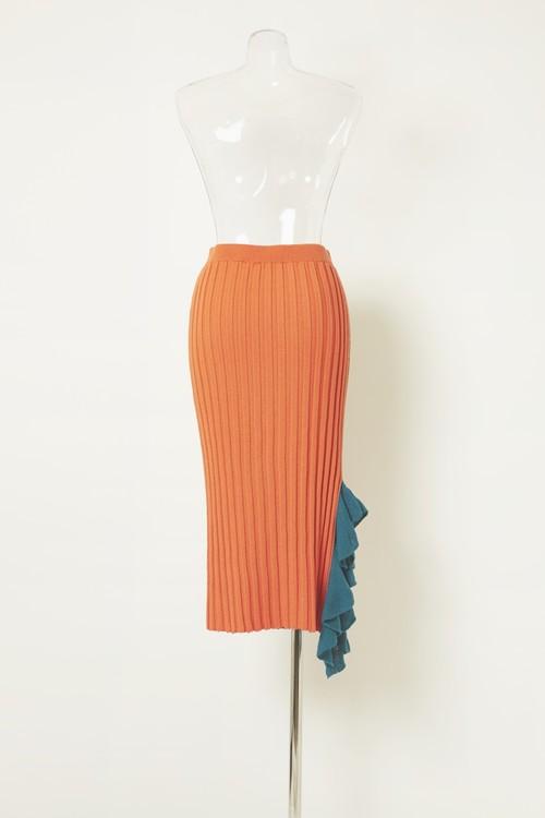 ワイドリブリボンニットスカート ORANGE