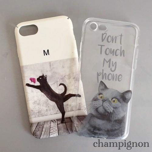 送料無料 iPhone7 キャットスマホケース ホワイト猫柄
