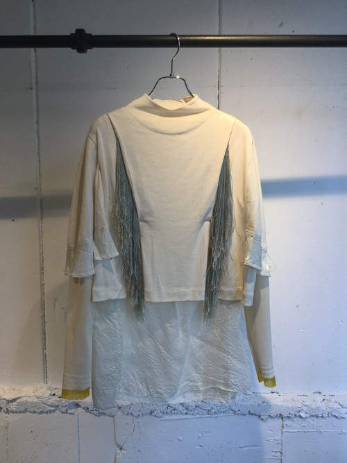 PONTI   R/C JERSEY FRINGE COMBINATION TOP (Off White)