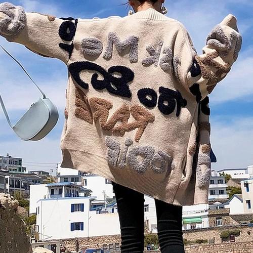【アウター】レディースファッションアウターコートニットVネックゆったりおしゃれカーディガン24283812