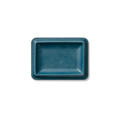 colm Leather Tray S Blue