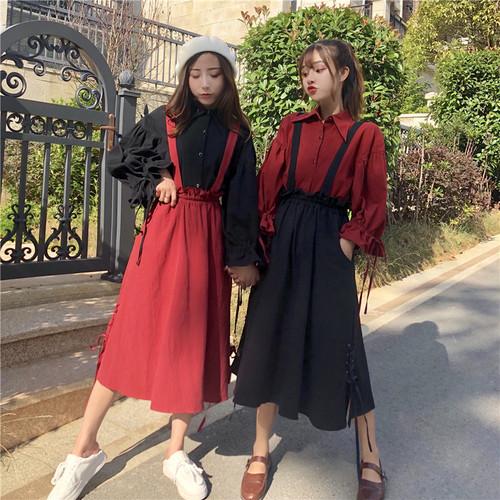 【セットアップ】2点セット春スウィートPOLOネックブラウスハイウエストAラインスカート