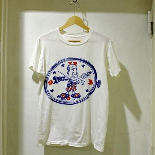 1970s Spiro Agnew Tee / 70年代 アグニュー副大統領 時計 染み込み プリント Tシャツ