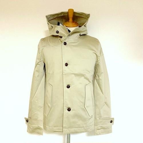 Satin Stretch Stand Collar Hooded Jacket Beige