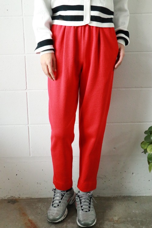 red cotton easy sweat pants
